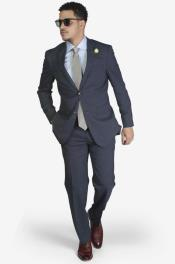 2-button Wool Suit Blue