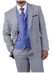 men's Steve Harvey Suits Light Gray Plaid 2 Button 219712 Suit - Vested fashion Suit- Wool Fabric Suit