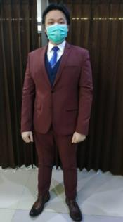 Burgundy Suit + Blue