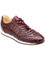 Mens Burgundy Ostrich Sneaker
