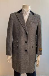Chesterfiled Overcoat - Chesterfiled Three Qurter men's Coat Wool Cashmere Topcoat + Gray By Alberto Nardoni