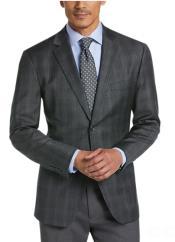 men's Single Breasted Two button Charcoal Grey Blazer - Plaid Gray Blazer