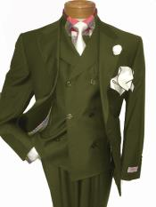 men's Two Button Single Breasted Olive Green Notch Lapel Suit
