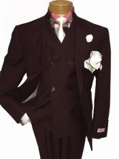 men's Two Button Single Breasted Notch Lapel Suit Dark Brown