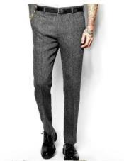 Herringbone Wool Tweed Flat