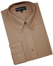 Taupe Cotton Blend Dress Cheap Fashion Clearance Shirt Sale Online For Men With Convertible