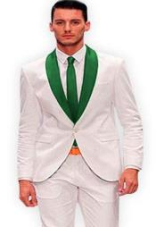 White and Green Lapel