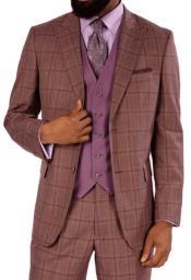 Mauve Plaid Vested Suit