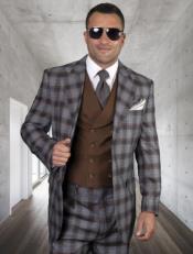 Classic Fit - Pleated Pants - Plaid Pattern - Vested Suit 3 Pieces - Wool Suits + Livorno-Copper Suit Color