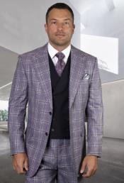 Classic Fit - Pleated Pants - Plaid Pattern - Vested Suit 3 Pieces - Wool Suits + Rimini-Eggplant Suit Color