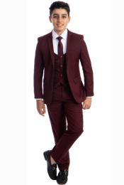 Boys Suit - Burgundy