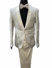 Suit - Cream Tuxedo