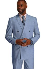 Breasted Suit Blue Stripe
