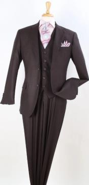 Brown Tone on Tone Vested - Brown Vested 3 Piece Suit - 100% Wool Pleated Pants