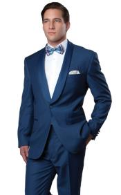 With Blue Sateen Lapel