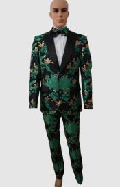 Prom Suits - Wedding Suit - Paisley Suit - Floral Suit + Matching Bowtie