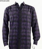 Bassiri Long Sleeve Shirt - Casual Fashion Dress Shirt - Untucked Button Down Shirts - Pattenred