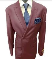 Breasted Peak Lapel Burgundy