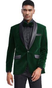 Green Velvet Tuxedo Jacket