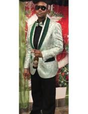 Button Shawl Lapel Green