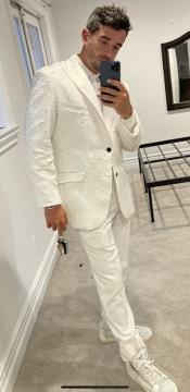 White Sequin Blazer -