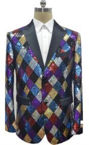 Color Rainbow Sequin Blazer