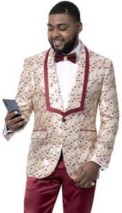 Burgundy Tuxedo Suit with