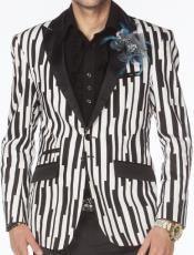 and White Pinstripe Blazer