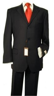 mens three button black suit