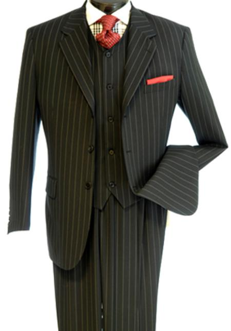 3 piece vested zoot suit black white pinstripe 1940s mens suits vintage fashion