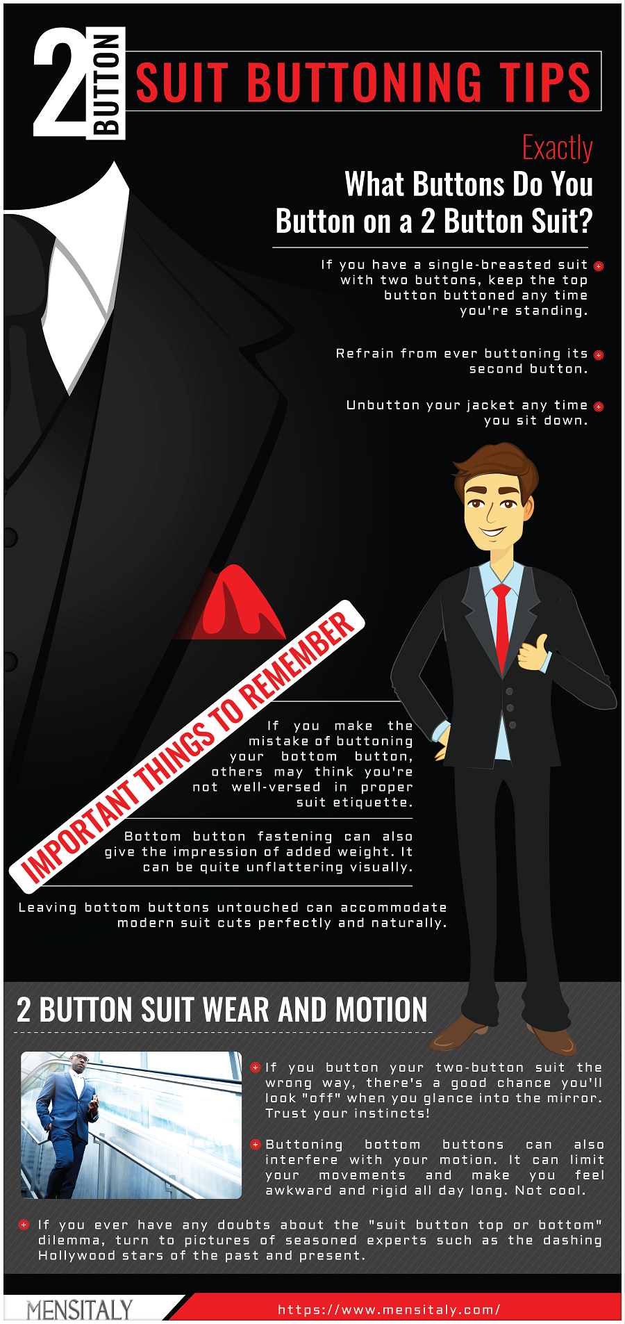 2 Button Suit Buttoning Tips Mens Fashion Infographics