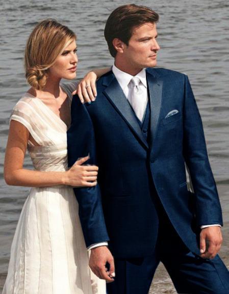 dark blue midnight navy 3 pc vested suit wedding groom groomsmen