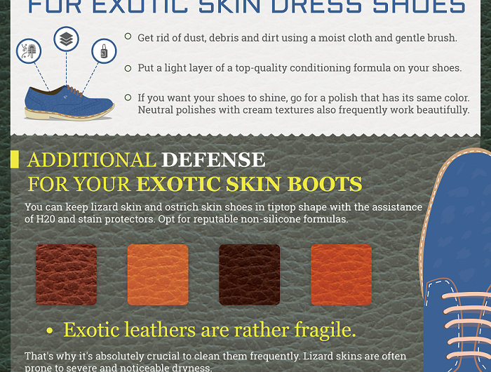 care tips for exotic skin dress shoes mens fashion infographic