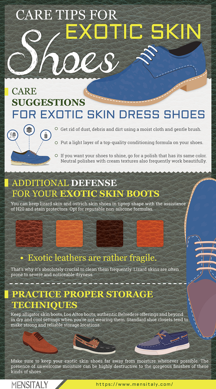 How To for Dress Shoes, Exotic Skin Shoes Care Suggestions
