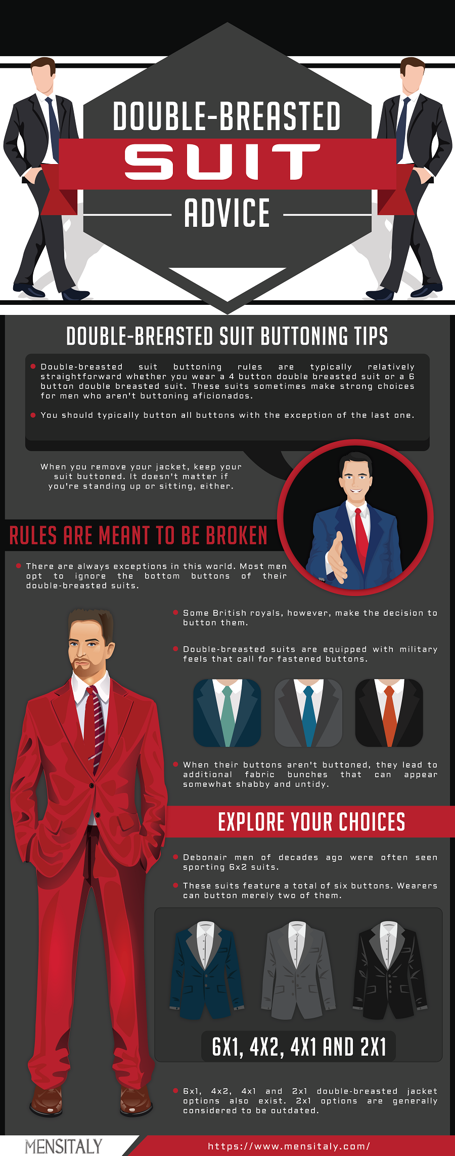 mens Double Breasted Suits Advice Buttoning Tips fashion infogrpahic