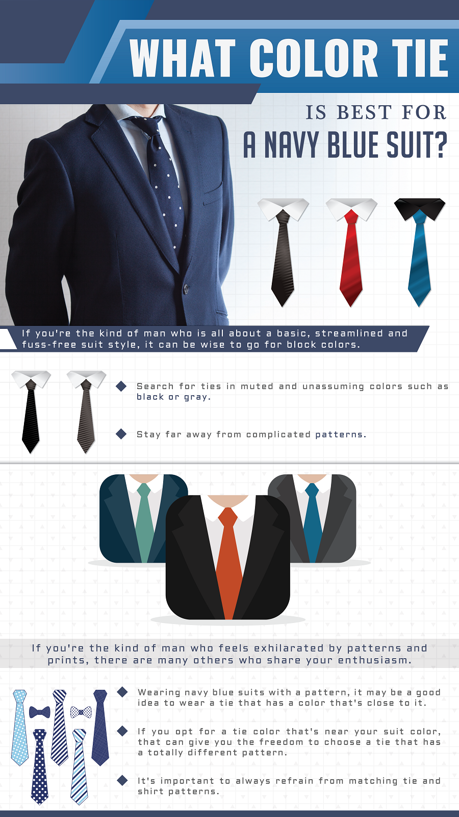 What Color Tie Is Best Navy Blue Suit Mens Fashion Infographics