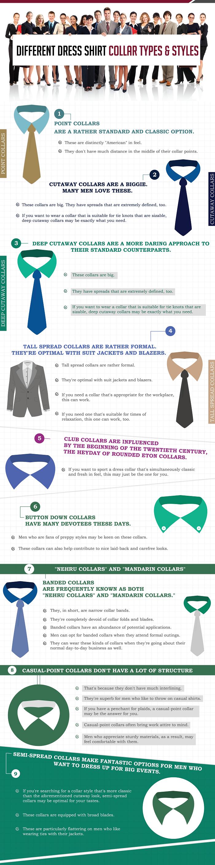 different dress shirt collar types mens fashion infographics