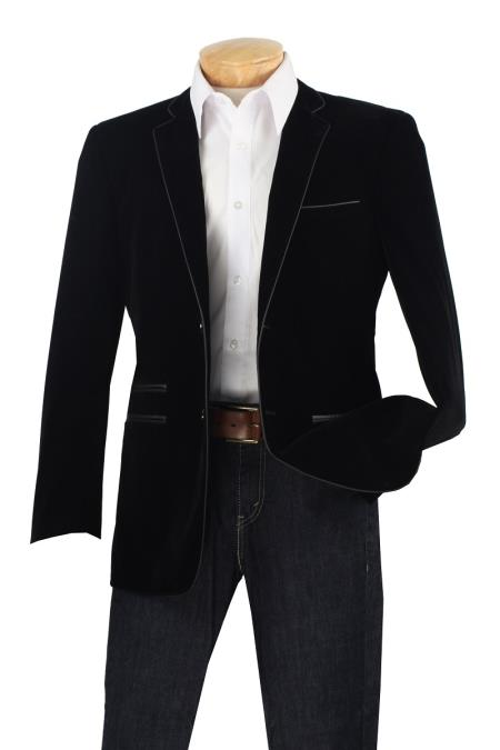 black velvet mens blazer leather trim sportscoat