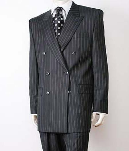 mens double breasted black pinstripe suits italian super 140s