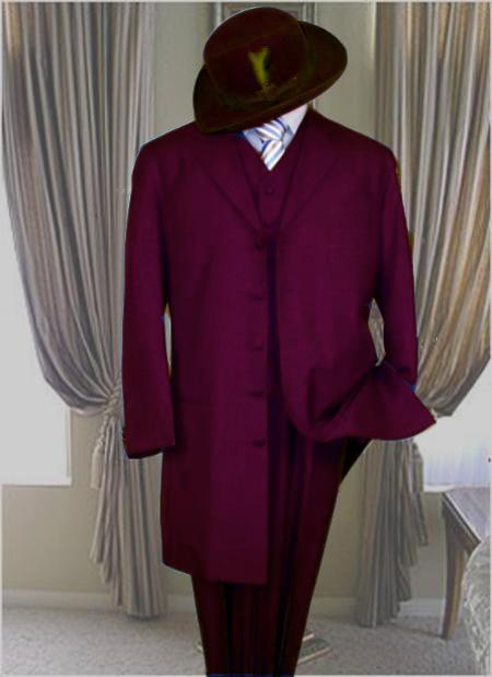 long pachuco 3 piece vested zoot suit dark purple burgundy 1940s mens suits vintage fashion