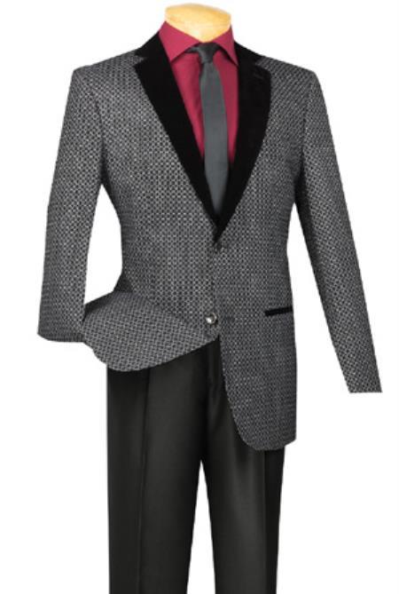 mens blazer sportcoat velvet trim black white pattern contrast lapel