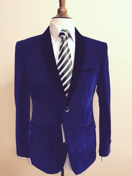 mens royal blue velvet blazer sportscoat