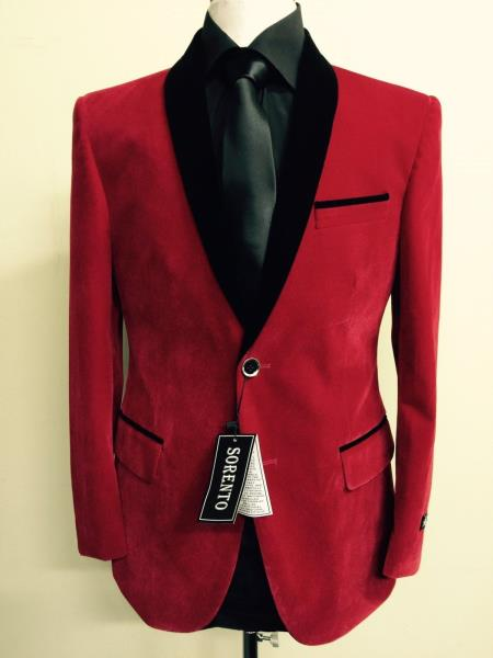 mens royal red velvet blazer black trim sportscoat