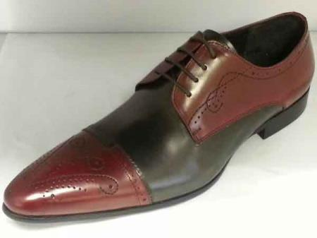 Mens Burgundy Dark Grey Gray Black 2/Two-Tone Leather Dress Shoes