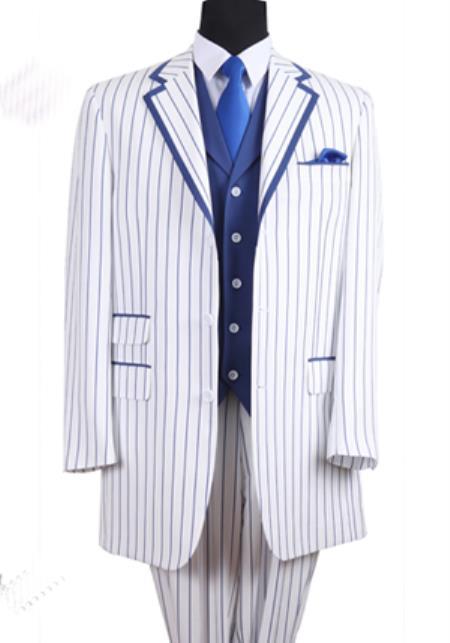 pachuco 3 piece vested zoot suit white blue pinstripe 1940s mens suits vintage fashion