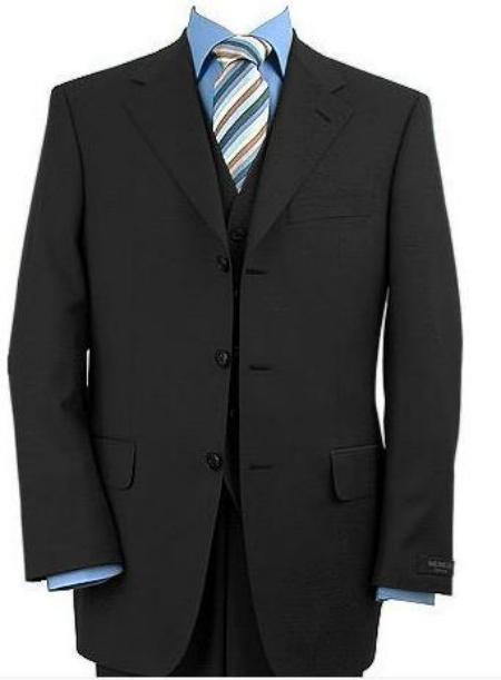 Three Piece Vested Italian Suit Black Acrylic Rayon