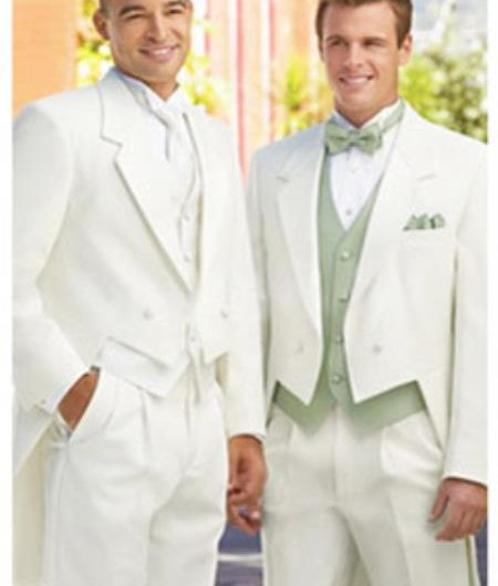 White Winter Formal Tuxedos for Weddings Prom Tailcoats