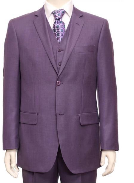 Christmas Eve Suit Outfit Ideas Men Two Button Purple Vest