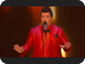 Mensitaly.com Menswear Red Shiny Blazer on Jason Brock Believes He Can Fly - THE X FACTOR USA